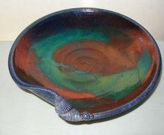 Mind Blowing IRIDESCENT Raku ART Pottery BOWL Signed GORGEOUS Detailed SEASHELLS