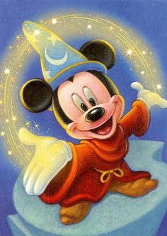 """Mickey Mouse as """"The Sorcerer's Apprentice"""" As Mickey gleefully wields his newfound powers, we share his exuberance. What could be better than commanding the galaxies? Things soon get out of control, but the spunky little fellow still shows us the magic in reaching for your dreams."""