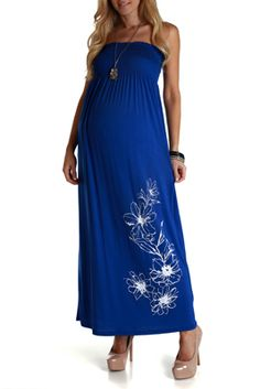 Royal Blue Floral Strapless Maxi Dress SKU: D1540-B  by PinkBlushMaternity.com