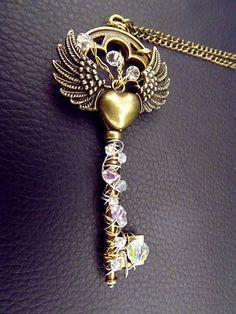 'The Faraway Tree'  Magic crystal victorian key necklace