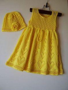 Knitted Baby Dress with Bolero Jacket and Hat -… Baby Dress Girls Knitted Dress, Knit Baby Dress, Knitted Baby Clothes, Knitting For Kids, Knitting For Beginners, Baby Knitting Patterns, Sewing Patterns, Diy Crochet Sweater, Crochet Baby
