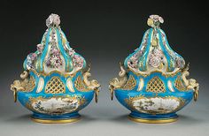 These pots-pourris belonged to the Marquise de Pompadour: porcelain fanatic, official mistress of Louis XV, and the most powerful woman in France in the mid-1700s.
