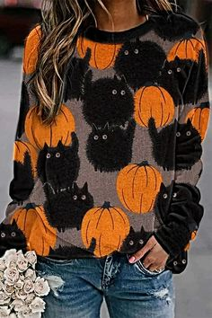 Style Casual,Daytime,Holiday Pattern Dumpkin,Cat Detail Paneled,Print Collar Crew neck Sleeve Type Long sleeves Material Polyester Season Spring,Fall,Winter Occasion Going out,Daily life,Halloween party Halloween Cartoons, Halloween Prints, Halloween Kostüm, Halloween Pumpkins, Halloween Costumes, Halloween Wreaths, Halloween Clothes, Halloween Outfits, Trend Fashion