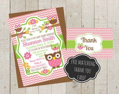 Owl Theme Shower Invite, Baby Shower Invitation, FREE matching Thank you card. Custom Baby Shower Invite on Etsy, $10.00