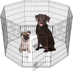 (This is an affiliate pin) SmithBuilt Crates 8 Panel Metal Wire Popup Portable Fence Playpen Folding Exercise Yard with Door and Carry Bag, 42-Inch High, Black Pet Puppy, Pet Dogs, Dogs And Puppies, Pets, Portable Fence, Dog Playpen Indoor, Large Dog Crate, Wireless Dog Fence