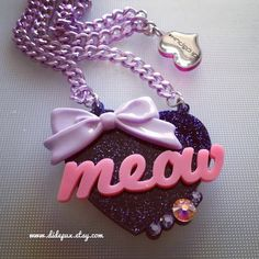 Meow glitter laser cut swarovski necklace by didepux on Etsy, €17.00