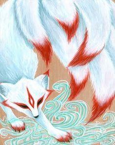 Kitsune by vireo painting. Fantasy Creatures, Mythical Creatures, Japanese Fox, Fox Spirit, Fox Art, Anime Animals, Asian Art, Color Splash, Fantasy Art