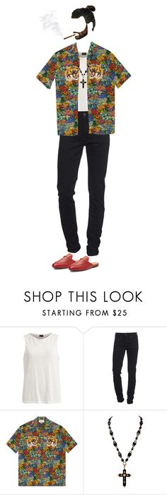 """""""{ javier arnaz ; the king"""" by salt-sugar ❤ liked on Polyvore featuring Vila Milano, True Religion, Gucci, men's fashion and menswear"""