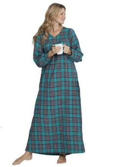 Only Necessities Women s Plus Size Soft Flannel Plaid Gown b69eefdd0
