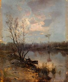 Rowing Boat by the Bank of a River | Sergei Ivanovich Vasilkovsky, Russian, 1854-1917