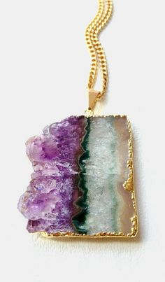 Amethyst Pendant Necklace Raw Amethyst Druzy