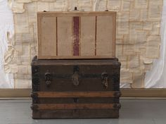 Striped Antique Suitcase $32 - Chicago http://furnishly.com/catalog/product/view/id/902/s/striped-antique-suitcase/