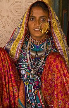 A tribal woman in her regular finery.