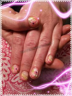 Gel overlay nails with hand free flower art design https://www.facebook.com/pages/Tips-N-Toes-Beauty-More/190729890981375