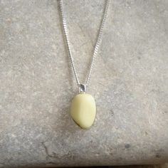 Small Pastel Yellow Northumbrian Milk Sea Glass Necklace by Northumbria Gems, jewellery made in the north east of England, United Kingdom.