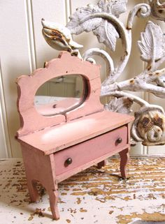 makeup ornament stand for DollHouse  miniature1:12 wood quality mirror dresser