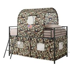 Bunk Beds Twin Over Twin For Kids With Stairs Tents Toddler Camouflage Army Loft #WildonHome