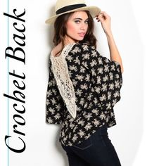 OPAL black and white crochet back top OPAL black and white crochet back blouse. This floral blouse features a flirty crochet insert back and 3/4 sleeves. Material: 100% Rayon. Available in sizes S, M & L. No trades. Price firm unless bundled. Measurements available upon request. Item is new in package. Please comment what size you need and I will make you a listing. Thank you for visiting my closet! Size small pictured above. Tops