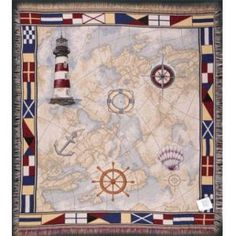 Nautical Themed Tapestry Throw Blanket