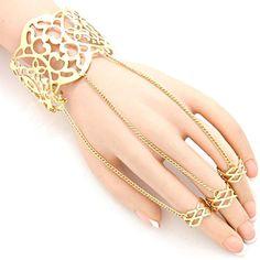 Arras Creations Fashion Heart Cutout Ring Bracelet Hand Chain/Slave Bracelet/Cuff Bracelet 3 Ring for Women / - Gold) Slave Bracelet, Hand Bracelet, Cuff Bracelets, Hand Chain, Fashion Jewelry, Gems, Cry, Rings, Touch