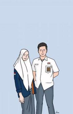 Couple Hijab, Anime Couples, Cute Couples, Lockscreen Couple, Cover Wallpaper, Wallpaper Lockscreen, Cover Wattpad, Black And White Photo Wall, Chibi Couple
