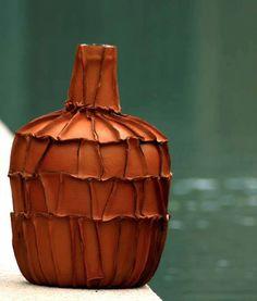 beautiful recycled leather vase made by Ive design | via de nieuwe winkel Den Bosch