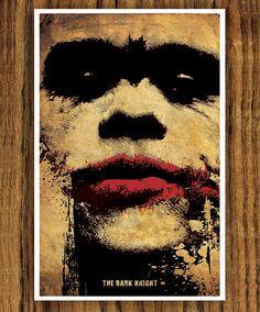 Batman Movie Poster - The Dark Knight - Joker Face Joker Poster, Superhero Poster, Batman Love, Batman Robin, The Dark Knight Poster, Joker Face, Heath Ledger Joker, Dc Comics Art, Creative Artwork