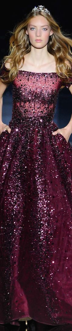 Zuhair Murad ~ Couture off the shoulder Burgundy Sequin Ball Gown, AW 2015