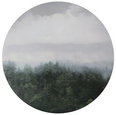 """30""""x30"""" Hunger of The Pines Oil on round panel Landscape Oil painting"""