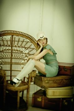 green dress and white knee high socks. cute!