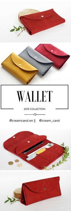 Leather wallet for womens Handmade wallet red Credit Cards holder Coin case Minimalist Nubuk Leather wallet Simple clutch soft Leather goods