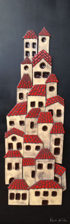 Ceramic house mural by Alicia del Olmo, Madrid Ceramics Projects, Clay Projects, Clay Crafts, Diy And Crafts, Arts And Crafts, Clay Tiles, Ceramic Clay, Ceramic Pottery, Clay Houses