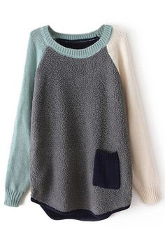 Color Block Panel Pocketed Grey Jumper
