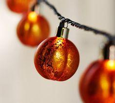 Orange Mercury Glass Pumpkin String Lights #potterybarn