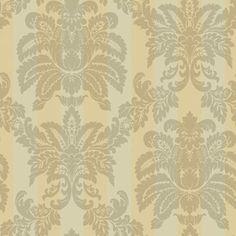 Sanitas® 20½ W Grey & Beige Suede Damask Stripe Wallpaper - Sears