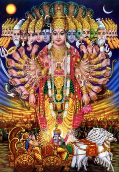 The Cosmic form Krishna. Abhimanyu Would Have Killed Krishna Hanuman Images, Durga Images, Lakshmi Images, Lord Krishna Images, Hare Krishna, Krishna Art, Krishna Drawing, Hindu Kunst, Hindu Art