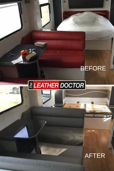 Renovation of a caravan interior has it looking fresh and modern - we're able to help reupholster your furniture as well as your caravan interiors! Caravan Interiors, Leather Repair, Leather Cleaning, Restoration, Finding Yourself, Fresh, Modern, Furniture, Trendy Tree
