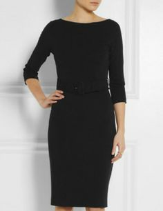 GUCCI Belted Stretch Crepe Dress