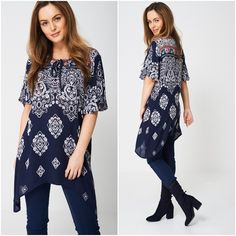 Lagenlook Kimono Top Tunic Beach Dress Cover Up Patterned Kaftan UK 10 Navy Navy Women, Kurtis, Kaftan, Tunics, Beachwear, Kimono Top, Cover Up, Tunic Tops, Lady