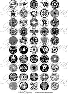 North American Indian Motifs Black and white Digital Collage Sheet by BaikalGraphics, $3.50