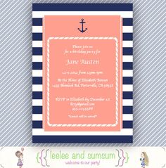 Printable Nautical Invitation: Birthday, Bridal Shower, Baby Shower, Navy Blue, 5x7. $15.00, via Etsy.