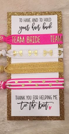Hot Pink and Gold Bridesmaid hair tie set with display card, bridesmaid box, bridesmaid proposal, br Bridesmaid Favors, Gold Bridesmaids, Bridesmaid Proposal Gifts, Be My Bridesmaid, Our Wedding, Wedding Gifts, Dream Wedding, Cute Wedding Ideas, Pink And Gold