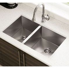 Undermount Stainless Steel Kitchen Sink, Faucet, Two Grids, Two ...