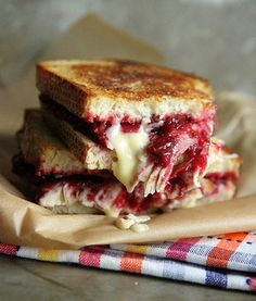 A little early for Thanksgiving leftovers - turkey and cranberry grilled brie-cheese sandwiches