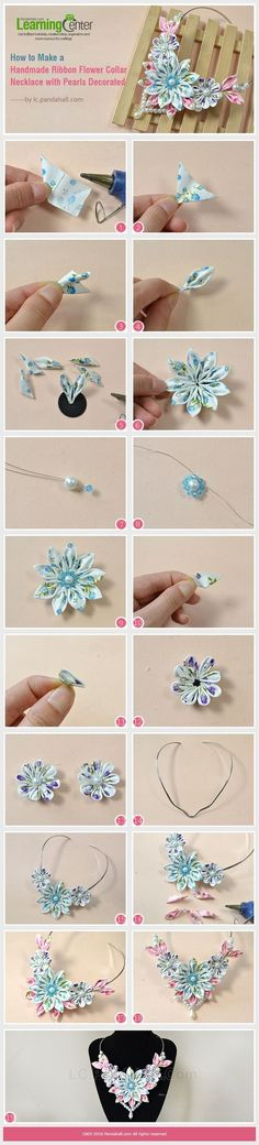 How to Make a Handmade Ribbon Flower Collar Necklace with Pearls Decorated from LC.Pandahall.com | Jewelry Making Tutorials & Tips 2 | Pinterest by Jersica