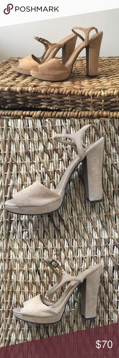 Club Monaco nude suede heels Size 7 nude suede heels from Club Monaco. Worn twice, they are in good condition. Simply to small for me! Feel free to ask questions and make an offer! Club Monaco Shoes Heels