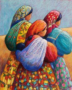 Tarahumara Women Canvas Print / Canvas Art by Candy Mayer Mexican Paintings, Afrique Art, Art Africain, Arte Popular, Naive Art, Mexican Folk Art, Native American Art, Indian Art, Female Art