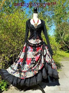 QUIRKY HITCH RUFFLE BUSTLE SKIRT FREESIZE 6-24 STEAMPUNK LAGENLOOK PIRATE GYPSY | eBay