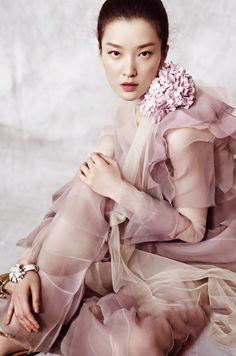 via fashioned by love | fashion editorials | Du Juan in Vogue China December 2014 (photography: Yin Chao, styling: Regina Chan)