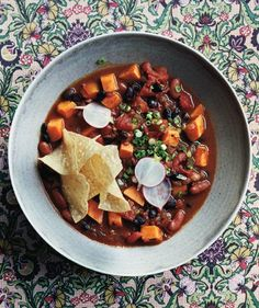 Slow-Cooker Vegetarian Chili With Sweet Potatoes | Get the recipe: http://www.realsimple.com/food-recipes/browse-all-recipes/slow-cooker-vegetarian-chili-with-sweet-potatoes-00000000049528